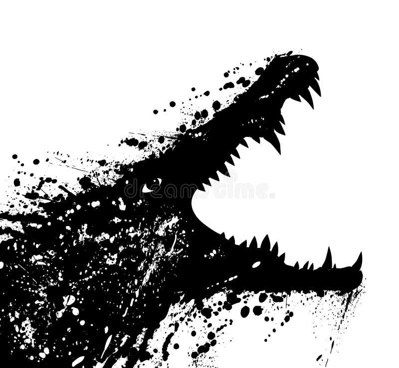 Crocodile. Vector illustration of a grungey crocodile launching an attack stock illustration