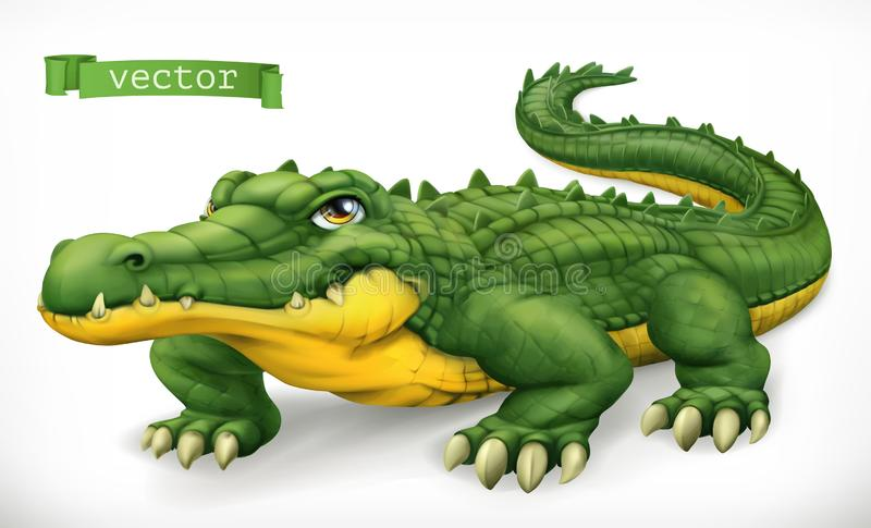 Crocodile, alligator. Funny character. Animal 3d vector icon royalty free illustration