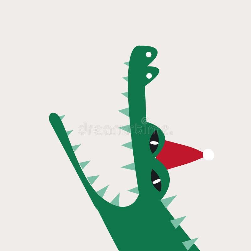 Crocodile aquatique de bande dessinée portant un vecteur de chapeau de Noël illustration de vecteur