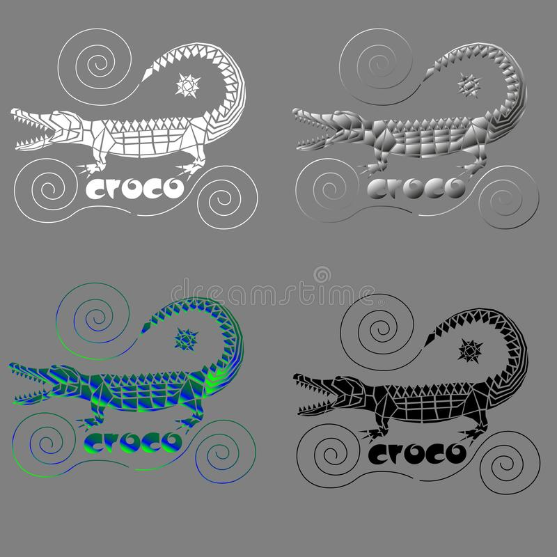Crocodile from arbitrary geometric shapes with spirals for logo or print royalty free illustration