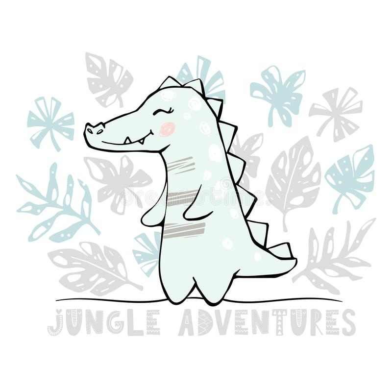 Crocodile baby girl cute print. Cool african animal stock illustration