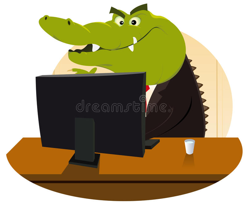 Crocodile Bankster. Illustration of a cartoon crocodile having selling you another mortgage, life insurance or subprime stuff vector illustration