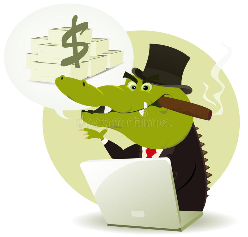 Crocodile Bankster Crook royalty free illustration