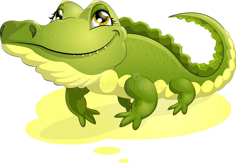 Crocodile. Big green bright crocodile with a yellow paunch royalty free illustration