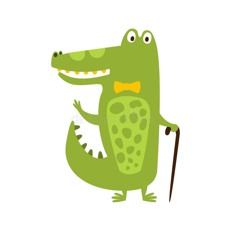 Crocodile With Bow Tie And Cane Flat Cartoon Green Friendly Reptile Animal Character Drawing. Part Of Alligator And Its Different Positions And Activities stock illustration
