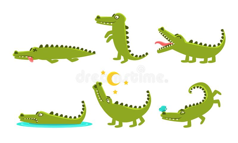 Crocodile Cartoon Character In Different Poses Set, Cute Amphibian Animal with Different Emotions Vector Illustration. On White Background stock illustration