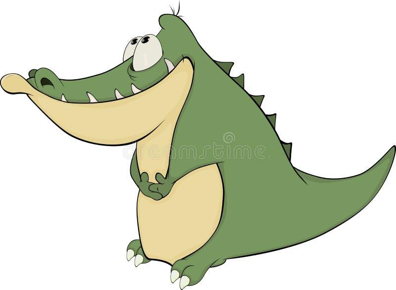 Crocodile. Cartoon. Green crocodile with short pads stock illustration