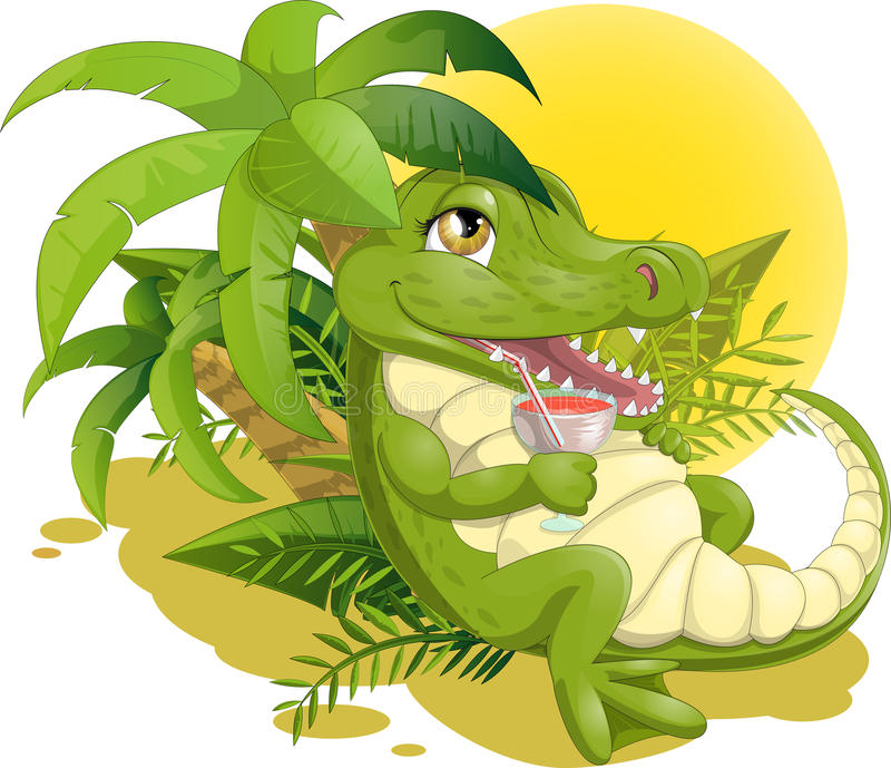 Crocodile with a cocktail. Crocodile who drinks a cocktail lying on the sun vector illustration