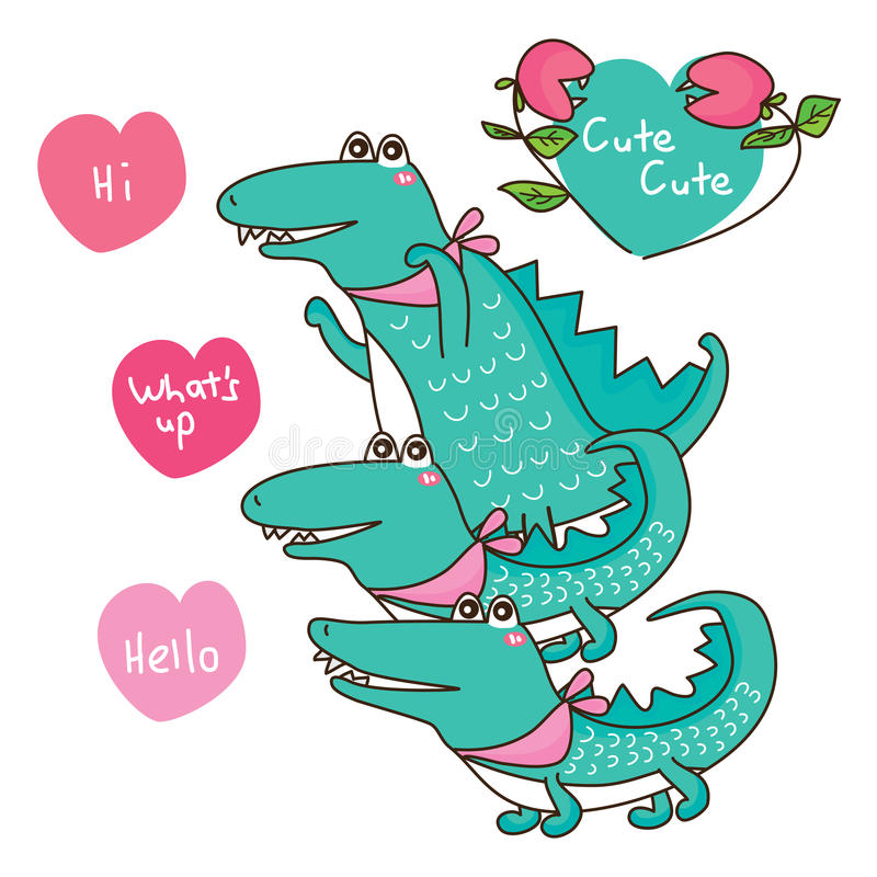 Crocodile cute group. This illustration is drawing and design crocodile cute group, too many crocodiles cute cute in white color background stock illustration