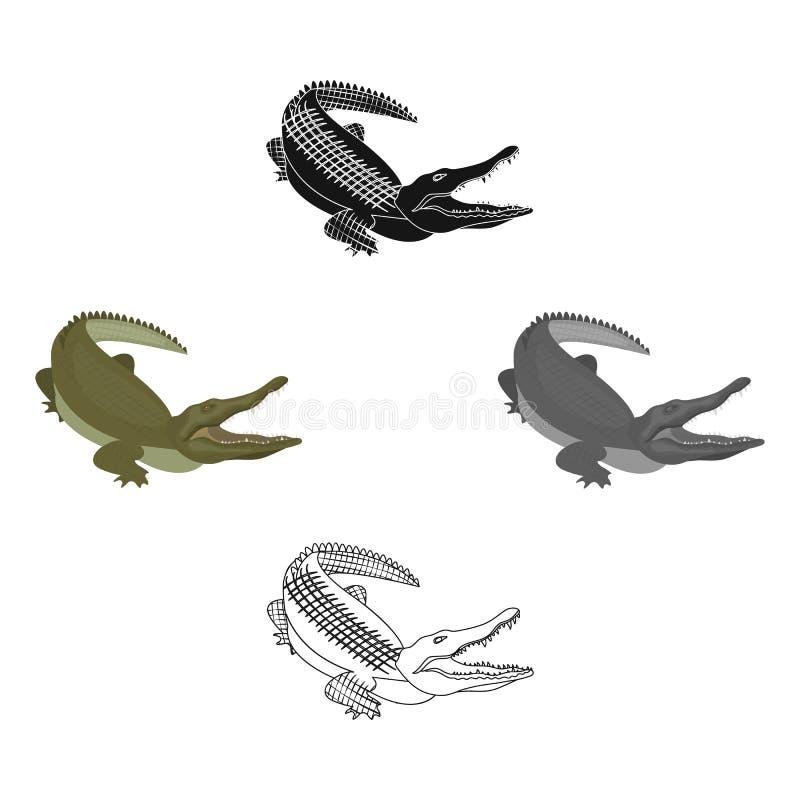 Crocodile, dangerous predator. Reptile, Nile crocodile single icon in cartoon,black style vector symbol stock. Illustration royalty free illustration
