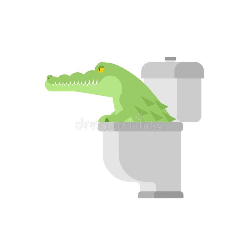 Crocodile dans la toilette Alligator dans l'égout animal prédateur Ville l illustration stock
