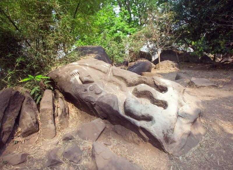 Crocodile dans le temple de Wat Phu Champasak au Laos photographie stock