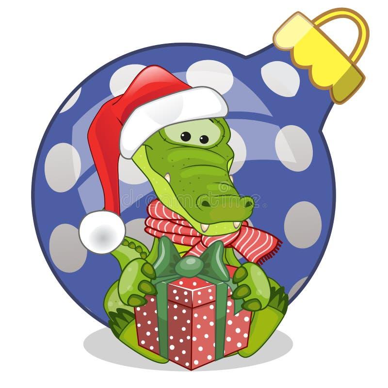 Crocodile dans un chapeau de Santa illustration libre de droits