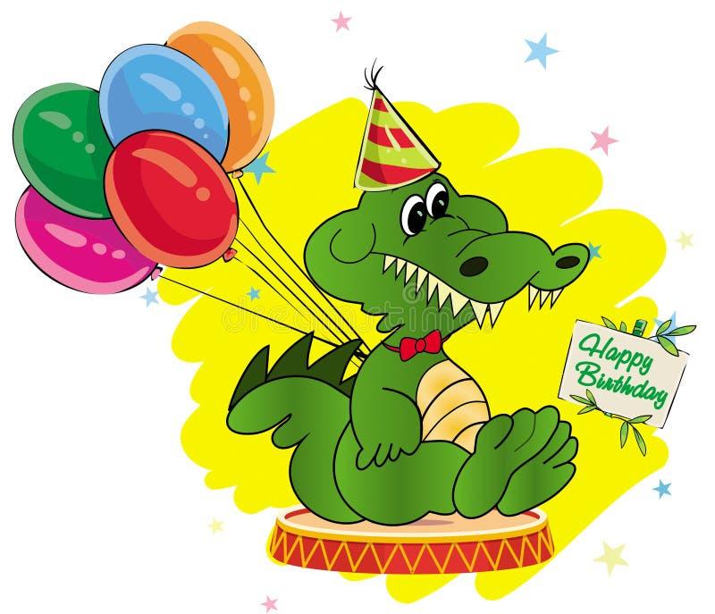 Crocodile de bande dessinée de carte de voeux avec des ballons, joyeux anniversaire dessus illustration stock