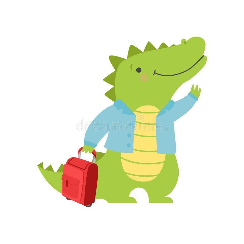 Crocodile de touristes gai avec la valise, personnage de dessin animé animal mignon voyageant sur le vecteur de vacances d'été illustration stock