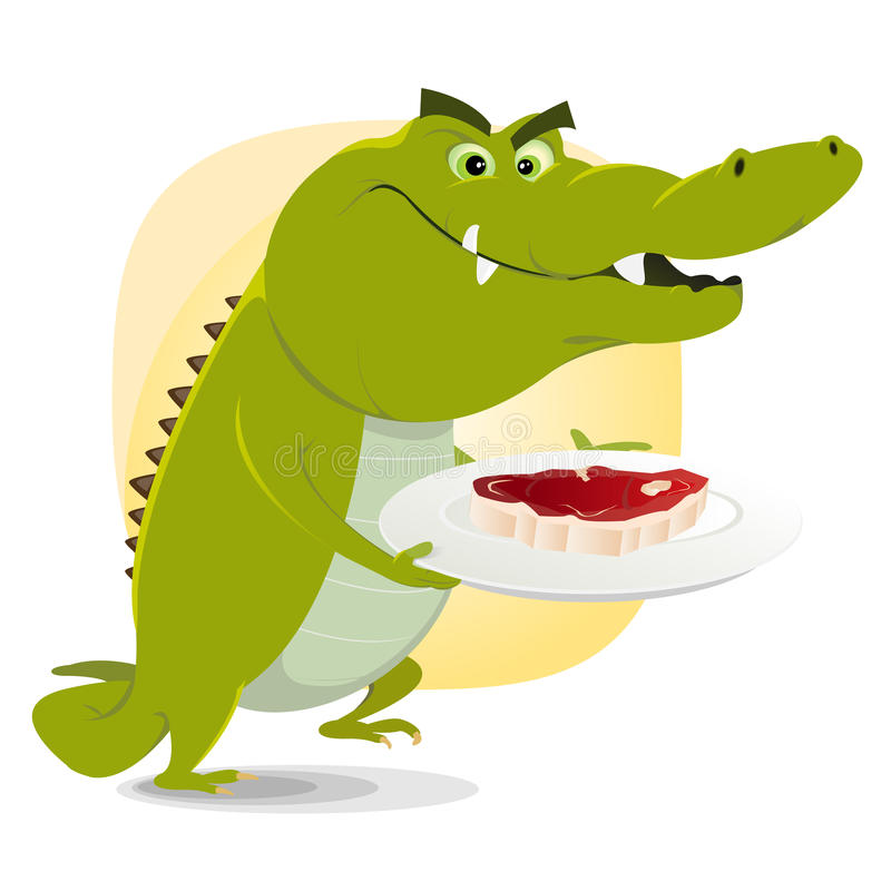 Crocodile Dinner Lunch royalty free illustration