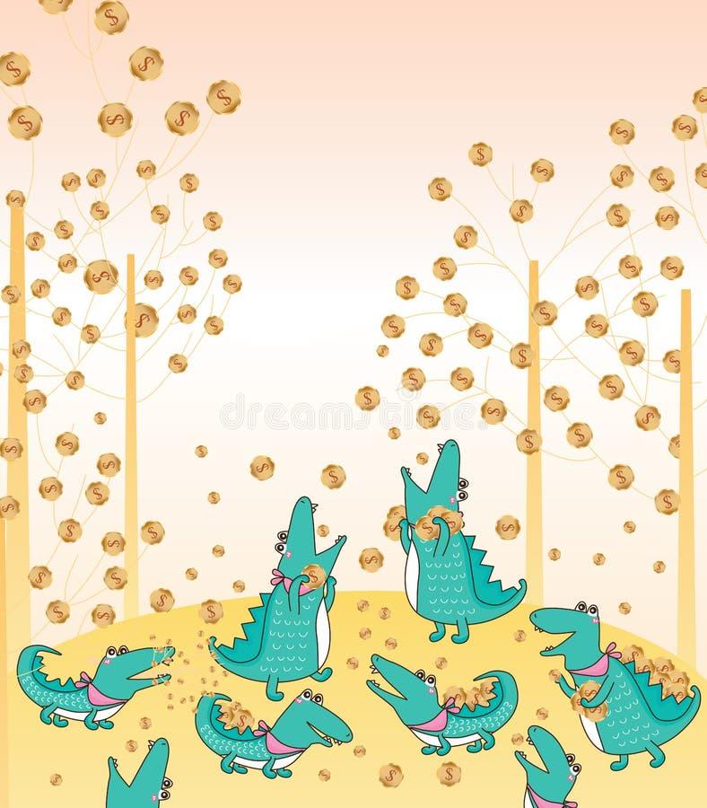 Crocodile eat money. This illustration is drawing crocodile eat money in landscape background stock illustration