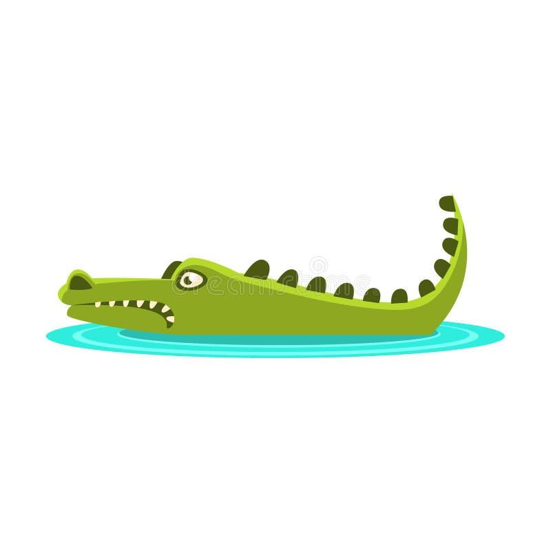 Crocodile fâché s'étendant dans l'eau, le personnage de dessin animé et son illustration quotidienne d'activité d'animal sauvage illustration stock