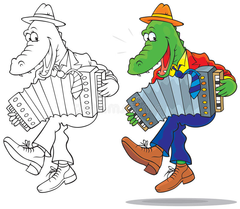 Crocodile. Funny crocodile dancing and playing an accordion, color and black-and-white outline illustrations on a white background stock illustration