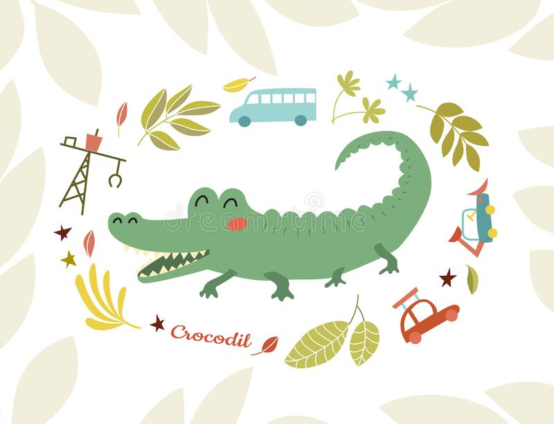Crocodile. Funny predator in cartoon style. Cheerful green alligator stock illustration