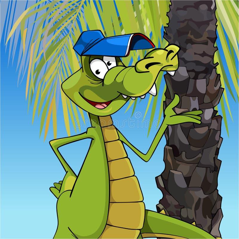 Crocodile gai de personnage de dessin anim dans un chapeau se tenant sous un palmier - Dessin anime crocodile ...