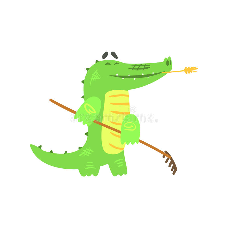 Crocodile Gardening With Rake, Humanized Green Reptile Animal Character Every Day Activity. Part Of Flat Bright Color Isolated Funny Alligator In Different royalty free illustration
