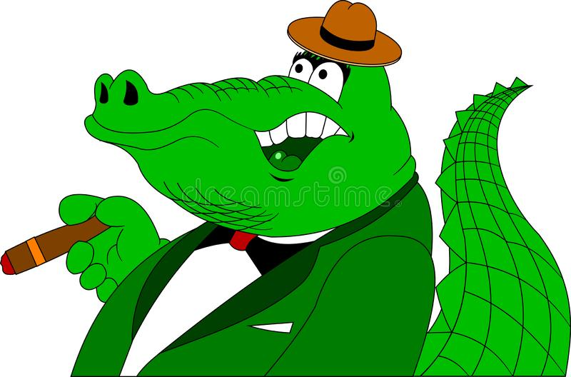 Crocodile in a green tuxedo with a cigar stock illustration