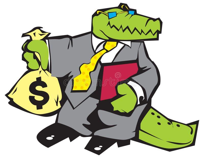 Crocodile in grey suit. stock illustration