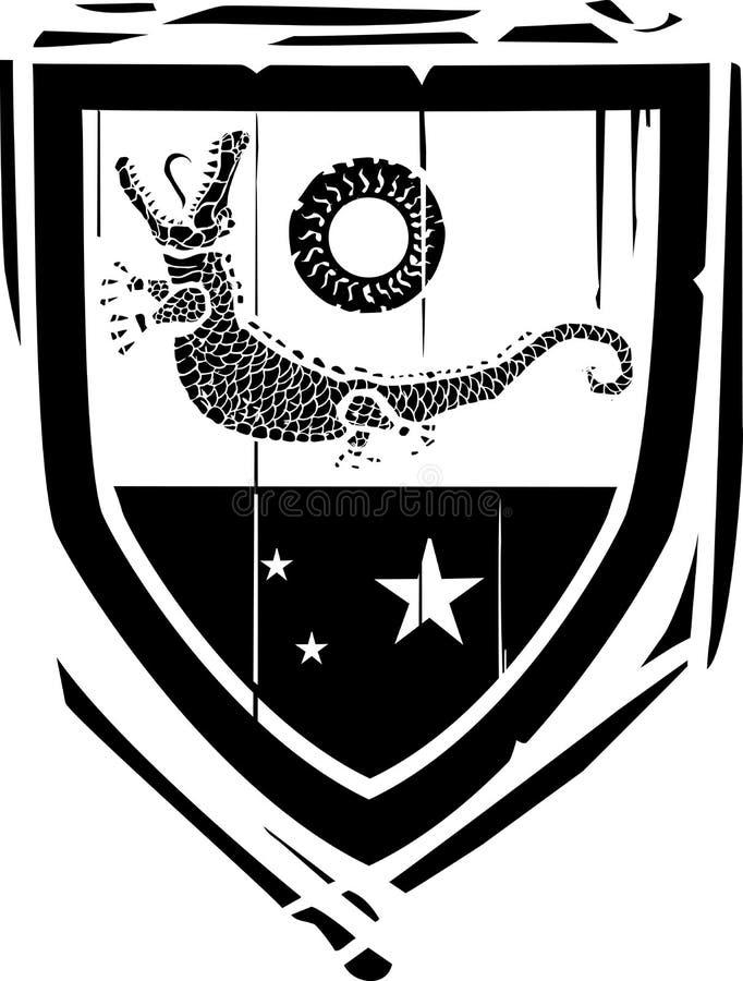 Crocodile héraldique de bouclier illustration libre de droits