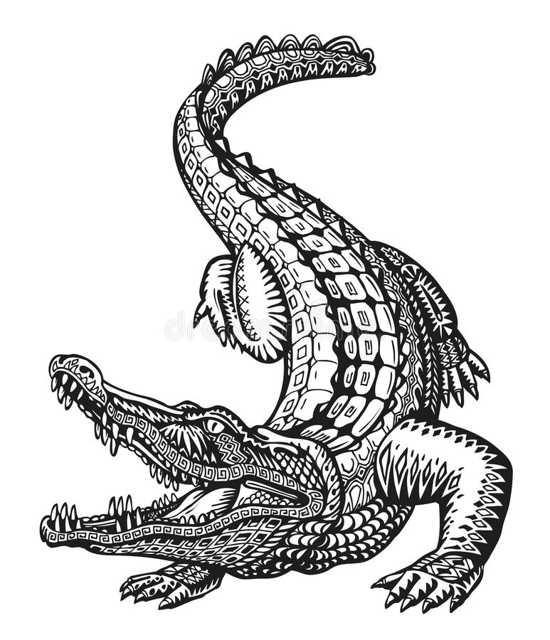 Crocodile. Hand drawn ethnic patterns. Alligator, animal sketch. Vector illustration royalty free illustration