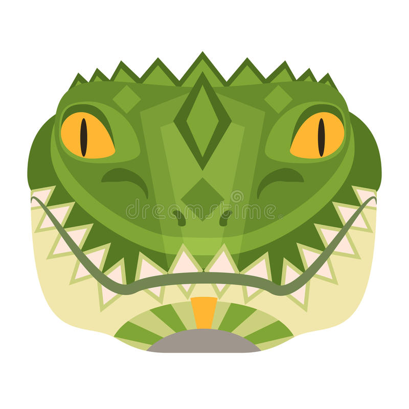 Crocodile Head Logo. Alligator vector decorative Emblem. royalty free illustration
