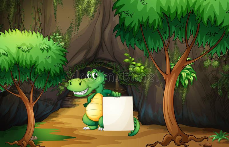 A crocodile holding an empty paper outside the cave stock illustration