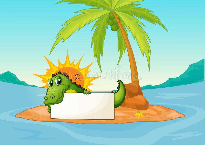 A crocodile holding an empty signboard in a small island royalty free illustration
