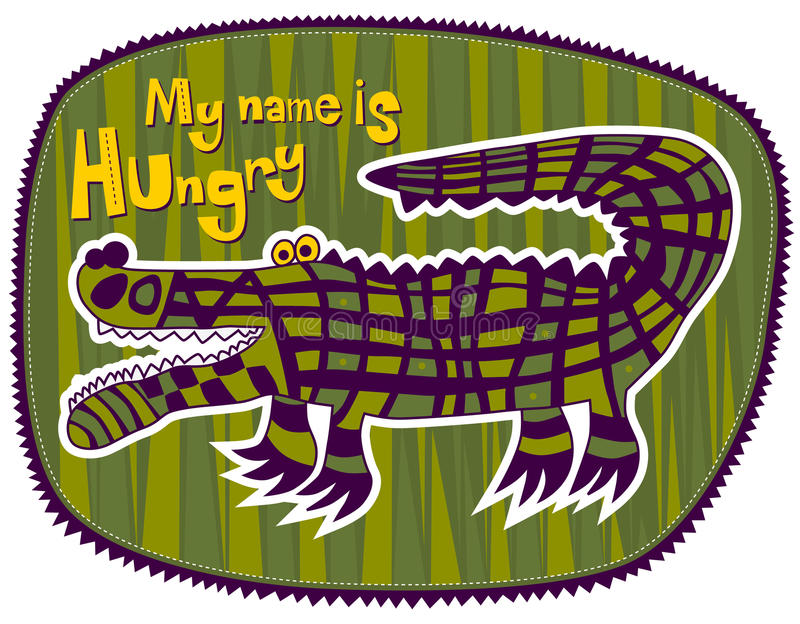 Crocodile Hungry. Checkered green crocodile on a green background. At the top left label My name is Hungry stock illustration