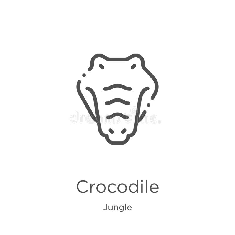 crocodile icon vector from jungle collection. Thin line crocodile outline icon vector illustration. Outline, thin line crocodile stock illustration