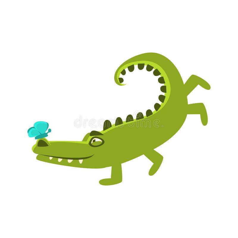 Crocodile jouant avec le papillon se reposant sur le nez de Hos, le personnage de dessin animé et son activité quotidienne d'anim illustration de vecteur