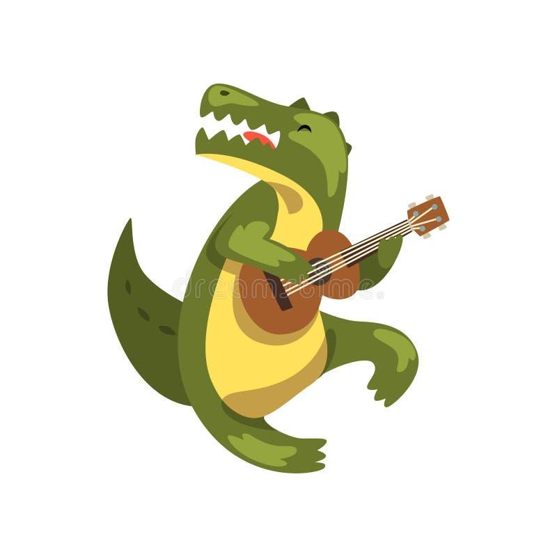 Crocodile jouant la guitare, caractère animal de bande dessinée avec l'illustration de vecteur d'instrument de musique sur un fon illustration de vecteur