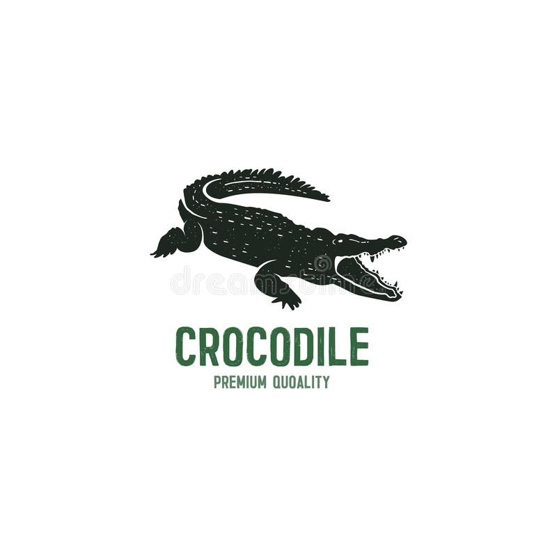 Crocodile logo template. Symbol of alligator, Crocodile with text. Wild animal typography badge design. Vintage hand vector illustration