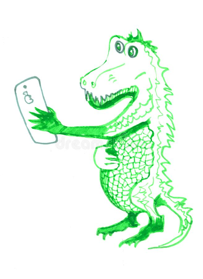 Crocodile making selfy. Isolated sketch on white background. Reptiles. Hand drawings of crocodiles. Crocodile. Hand drawn . Alligator animal sketch illustration royalty free illustration