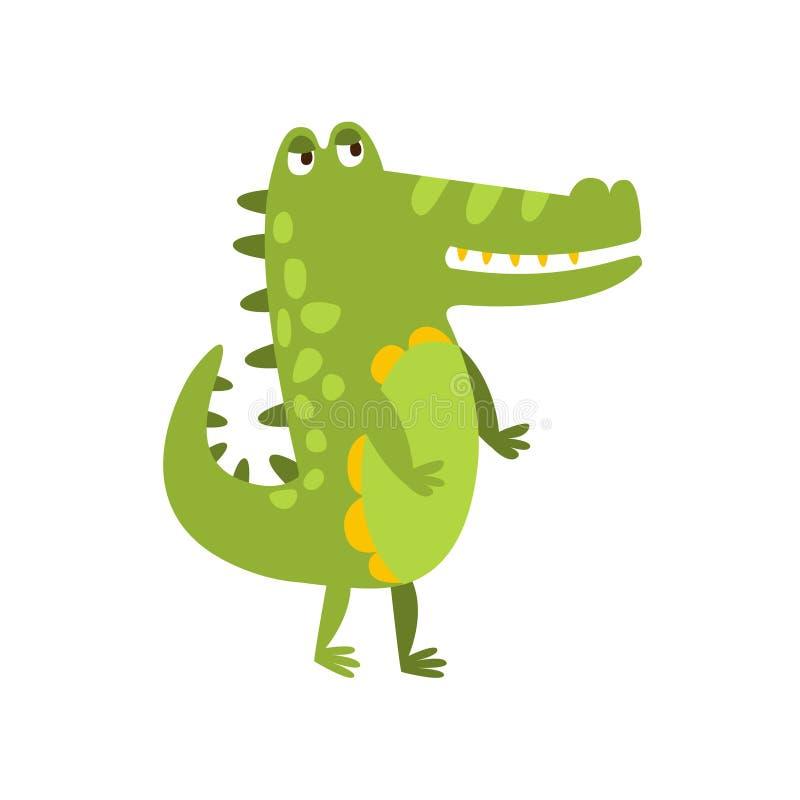 Crocodile marchant sur le dessin de caractère animal de bande dessinée de deux jambes de reptile amical plat de vert illustration de vecteur