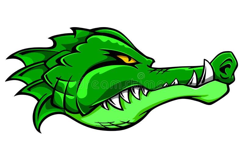 Crocodile mascot. Green alligator crocodile head for tattoo or mascot design royalty free illustration