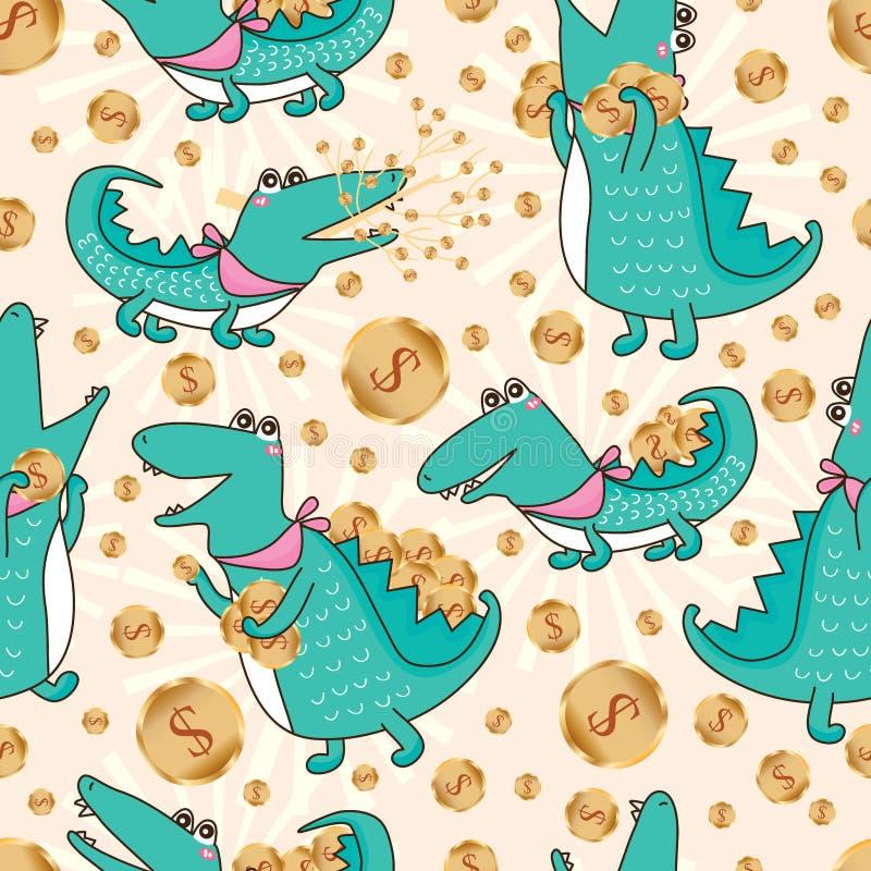 Crocodile money seamless pattern royalty free illustration