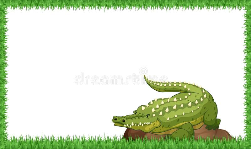 A crocodile on nature frame vector illustration
