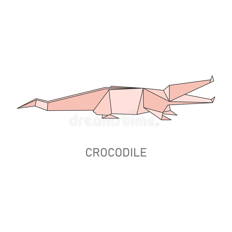 Crocodile origami - geometric animal folded from paper. Traditional Japanese craft. Pink cartoon alligator shape line art isolated on white background - flat royalty free illustration