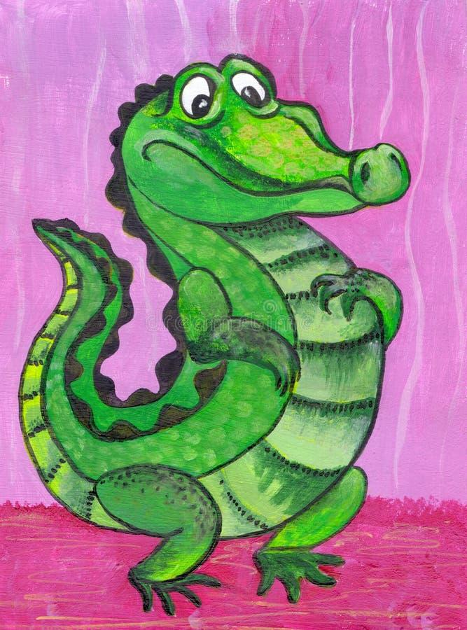 Crocodile, personnage de dessin animé Figure avec les peintures acryliques Illustration pour des enfants handmade illustration stock