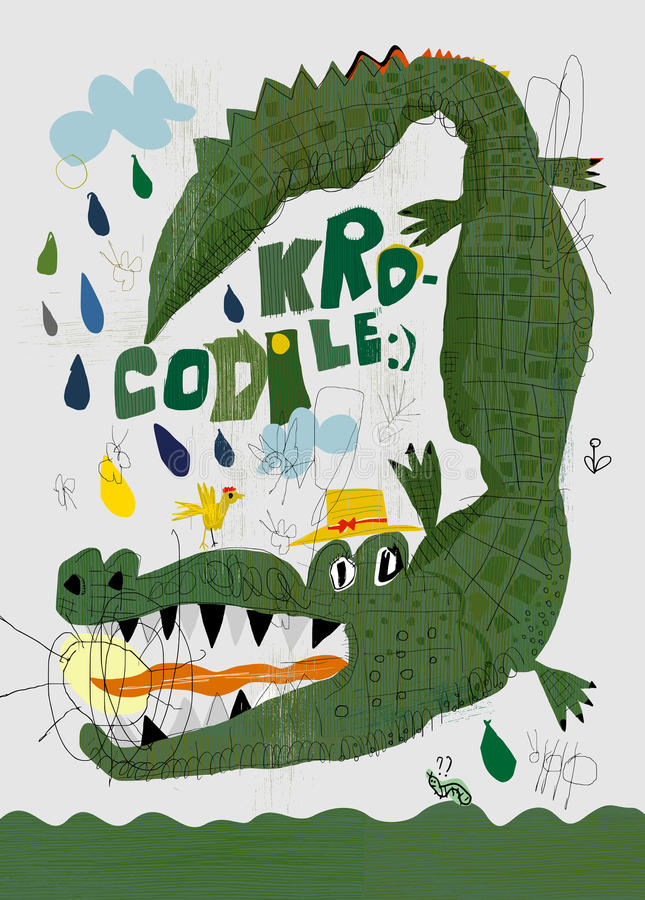 Crocodile. Picture of a crocodile who swallowed the sun royalty free illustration