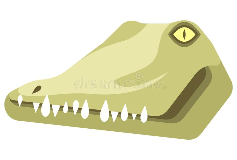 Crocodile portrait made in unique simple cartoon style. Head of crocodile or alligator. Isolated icon for your design. vector illustration
