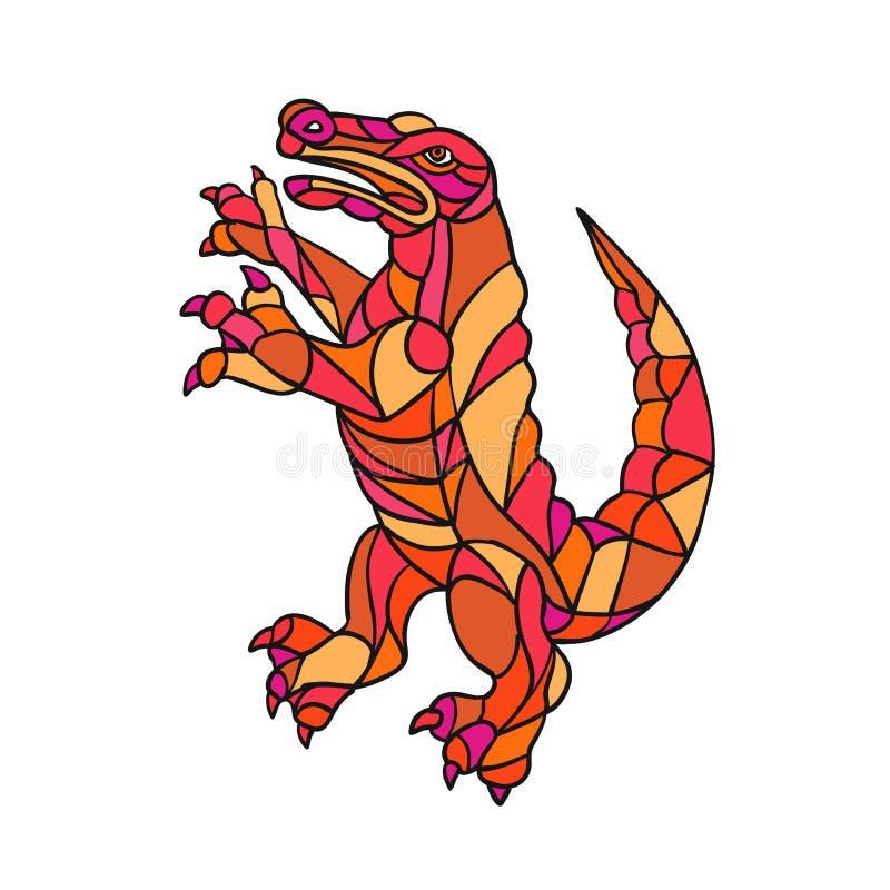 Crocodile Prancing Mosaic Color stock illustration