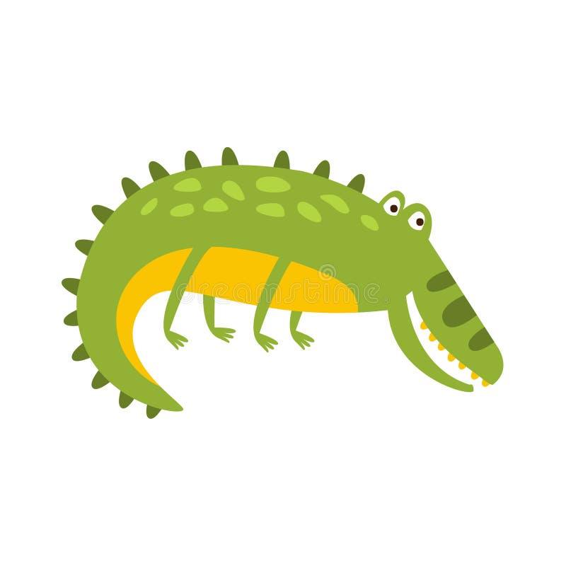 Crocodile s'étendant sur le dessin de caractère animal de bande dessinée de reptile amical plat latéral de vert illustration de vecteur