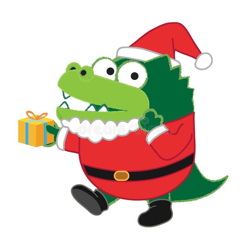 Crocodile Santa illustration de vecteur
